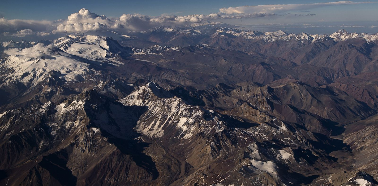 PHOTO: Aerial view of the Andes mountain range, near the border between Chile and Argentina, on January 29, 2013