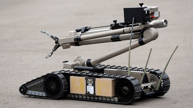 PHOTO: Denver Police Department's newest Bomb Squad bomb disposal robot, the iRobot, is pictured at the DPD Traffic Operations headquarters in February 2012.