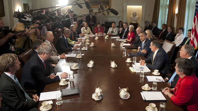 PHOTO:US President Barack Obama (center R) holds a Cabinet Meeting in the Cabinet Room of the White House in Washington, DC, July 26, 2012.