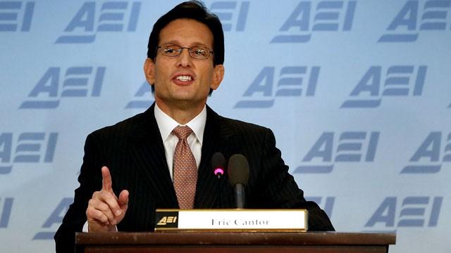 PHOTO:House Majority Leader Eric Cantor (R-VA) speaks at the American Enterprise Institute, on February 5, 2013 in Washington, DC.