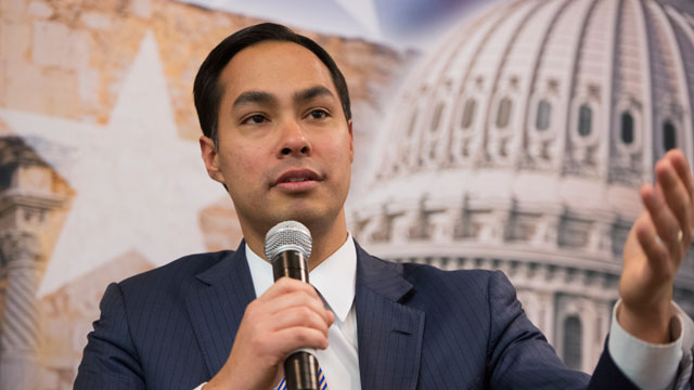 PHOTO: Julian Castro, mayor of San Antonio, and his brother Rep. Joaquin Castro, D-Texas, not pictured, participate in a discussion at the SA to DC conference held at the Marriott at Metro Center.