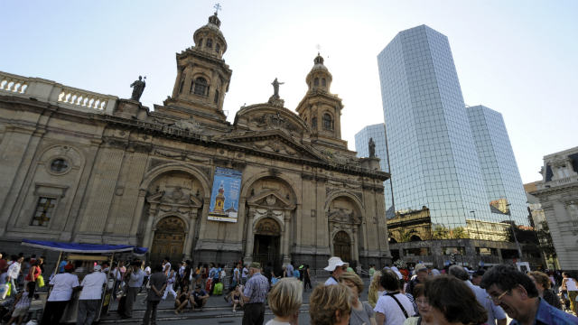 PHOTO: The Cathedral at Santiago, Chile's capital city.