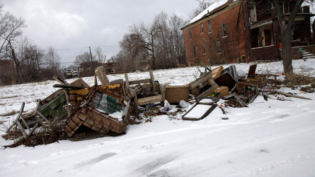 PHOTO: Trash is seen lying alongside a street February 24, 2013 in Detroit, Michigan.