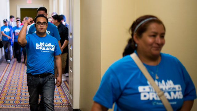 PHOTO: Immigration reform supporters leave the Senate chamber in the Capitol after watching passage of the Senate immigration reform bill on Thursday, June 27, 2013.