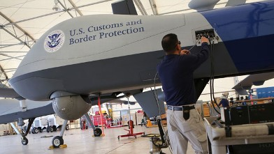 PHOTO: Predator drone operated by U.S. Office of Air and Marine (OAM), before its surveillance flight near the Mexican border.