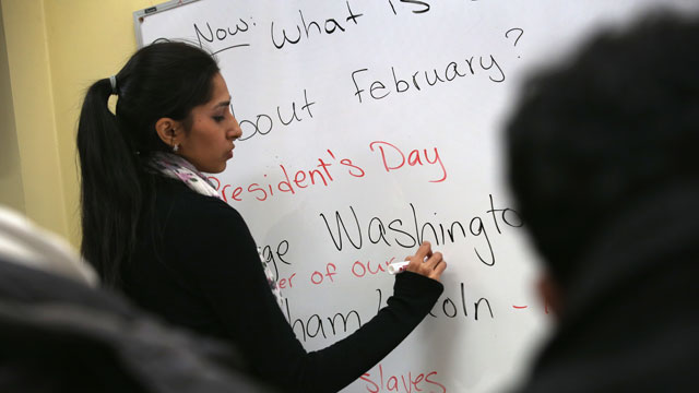PHOTO: Instructor Fareeha Haq teaches Pakistani immigrants during an English and U.S. citizenship class at the office of the Council of Peoples Organization (COPO), on February 6, 2013 in New York City.