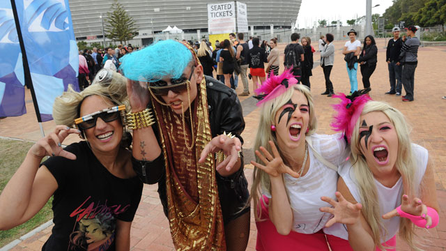 "PHOTO: South African Lady Gaga fans with their ""paws up."""