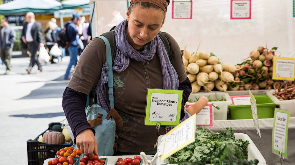 PHOTO: A woman shops for groceries in the GrowNYC Greenmarket in Union Square using Electronic Benefits Transfer (EBT), more commonly known as Food Stamps,on September 18, 2013 in New York City.