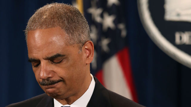 PHOTO: U.S. Attorney General Eric Holder makes a statement on the U.S. Supreme Courts ruling on the Voting Rights Act at the Justice Department on June 25, 2013 in Washington, DC.