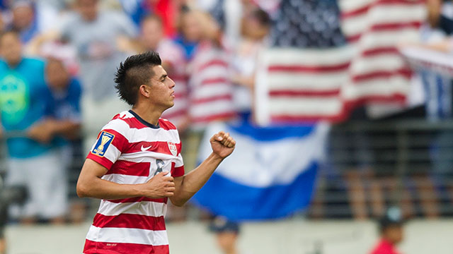 PHOTO:Joe Corona celebrates after scoring a goal against El Salvador in the first half of a CONCACAF quarterfinal match in Baltimore on July 21, 2013.
