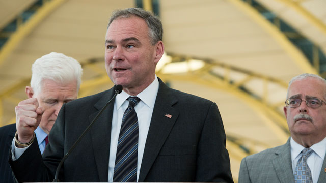 PHOTO:Sen. Tim Kaine, D-Va., center, holds a news conference on Monday, Feb. 25, 2013, at National Airport in Washington on the impact of sequestration on air travel.