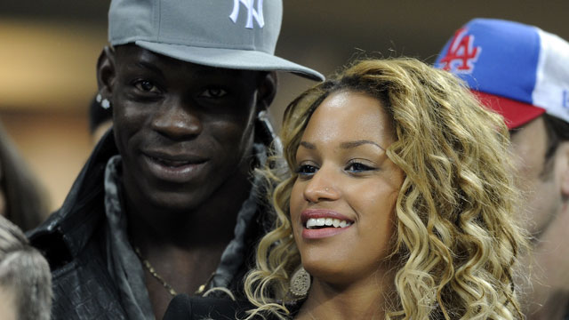 PHOTO:  Mario Balotelli and Fanny Neguesha attend the UEFA Champions League Round of 16