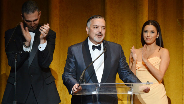 PHOTO: (L-R) Andres W. Lopez, Henry Muñoz III and Eva Longoria speak at Latino Inaugural 2013: In Performance at Kennedy Center at The Kennedy Center on January 20, 2013 in Washington, DC.