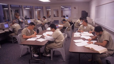 PHOTO: Inmates participate in a study program in Santa Ana, CA.