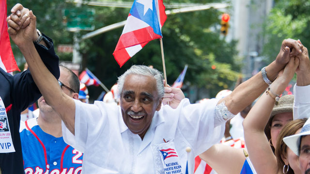 PHOTO: U.S. Representative for New York Charles Rangel attends the National Puerto Rican Day Parade on the streets of Manhattan on June 10, 2012 in New York City.