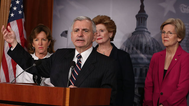 PHOTO: U.S. Sen. Jack Reed, (D-RI) (2nd-L) talks about student loans while flanked by (L-R) Sen. Kay Hagan (D-NC), Sen. Debbie Stabenow (D-MI), Sen. Elizabeth Warren (D-MA), during a news conference on Capitol Hill, June 27, 2013 in Washington, DC.