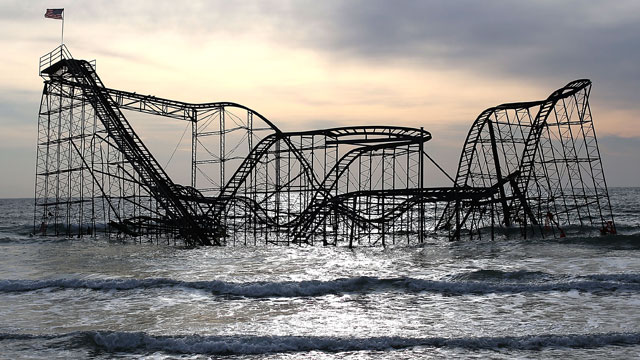 PHOTO:The Star Jet roller coaster remains in the water after the Casion Pier it sat on collapsed from the forces of Superstorm Sandy, February 19, 2013 in Seaside Heights, New Jersey.