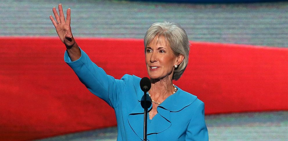 PHOTO: Secretary of Health and Human Services Kathleen Sebelius waves as she takes the stage during day one of the Democratic National Convention at Time Warner Cable Arena on September 4, 2012 in Charlotte, North Carolina.