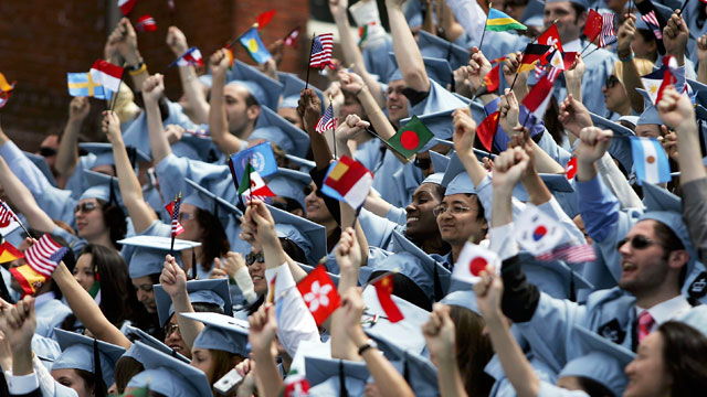PHOTO:Students cheer during commencment ceremonies at Columbia University May 18, 2005 in New York City. This is the 251st class to graduate from Columbia.