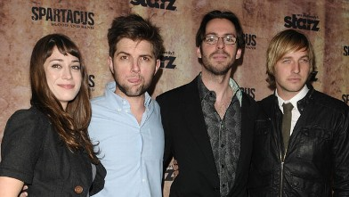 PHOTO: Lizzy Caplan and Adam Scott pose with fellow 'Party Down' actors Martin Starr and Ryan Hansen