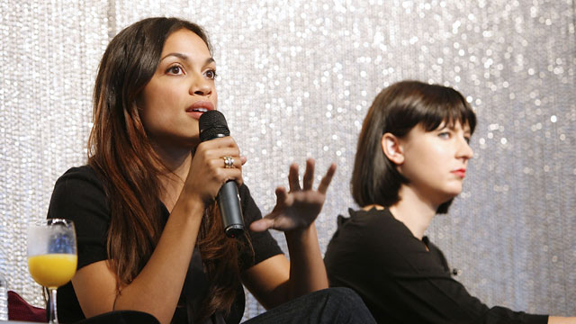 PHOTO: Actress and Co-Founder, Vote Latino Rosario Dawson speaks during the Election Effect Panel Discussion at MTV Networks Offices on October 14, 2008 in New York City.