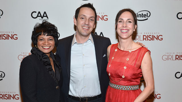 PHOTO: Chief Diversity Officer & Global Director of Education and External Relations for Intel Roz Hudnell, director Richard Robbins and producer Martha Adams attend a screening of 10x10's 'Girl Rising' on March 7, 2013 in Los Angeles, California.