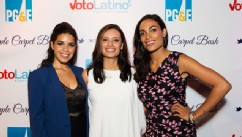 PHOTO: (L-R) America Ferrera, Maria Teresa Kumar, and Rosario Dawson attend Voto Latinos Purple Carpet Bash at All American Pub on September 5, 2012 in Charlotte, North Carolina.