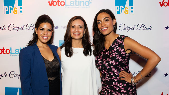 PHOTO: (L-R) America Ferrera, Maria Teresa Kumar, and Rosario Dawson attend Voto Latino's Purple Carpet Bash at All American Pub on September 5, 2012 in Charlotte, North Carolina.