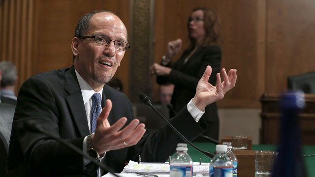PHOTO: Labor Secretary nominee Thomas Perez testifies during his confirmation hearing before the Senate Health, Education, Labor and Pensions Committee April 18, 2013 on Capitol Hill in Washington, D.C.