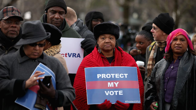 PHOTO:Residents from Alabama stand in line outside the U.S. Supreme Court for a chance to hear oral arguments February 27, 2013 in Washington, DC, for Shelby County v. Holder, a legal challenge to Section 5 of the Voting Rights Act.