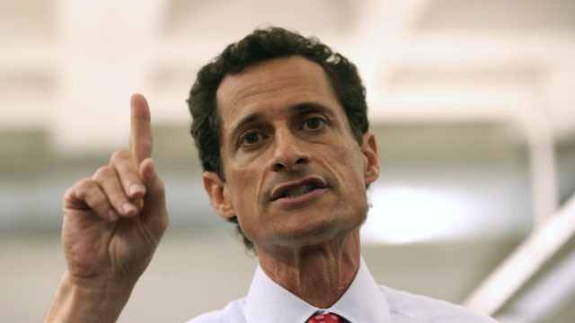 Anthony Weiner, a leading candidate for New York City mayor, answers questions during a press conference on July 23, 2013 in New York City.