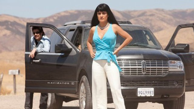 "Salma Hayek plays a cartel leader in Oliver Stones' ""Savages."""