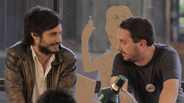 "PHOTO: Actor Gael Garcia Bernal (left) and director Pablo Larrain (right) on the set of the Oscar-nominated film ""NO."""