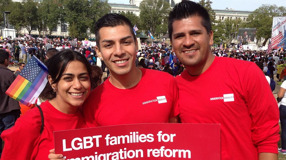 PHOTO: Ameesha Sampat, Marco Quiroga, and Jose Nevarez join activists on the National Mall to rally for immigration reform on Oct. 8, 2013.