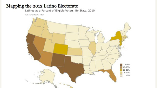 PHOTO: A new Pew Hispanic Center interactive map shows how many Latino eligible voters are in each state, the share of eligible voters in each state who are Latino, and the share of the Latino population that is eligible to vote in each state.