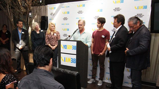 PHOTO: LOS ANGELES, CA - SEPTEMBER 26: I AM 38 Press Conference with Edward James Olmos, Molly Munger, Melissa Revuelta, Tyler Posey, John Posey, Rick Najera and Marco Antonio Regil held at BESO Restaurant on September 26, 2012 in Los Angeles, California