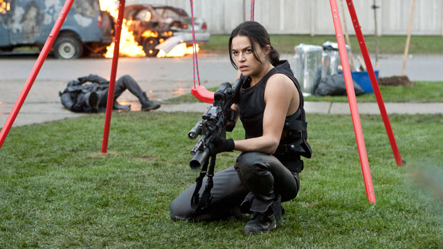 "PHOTO: Michelle Rodriguez in ""Resident Evil: Retribution."""