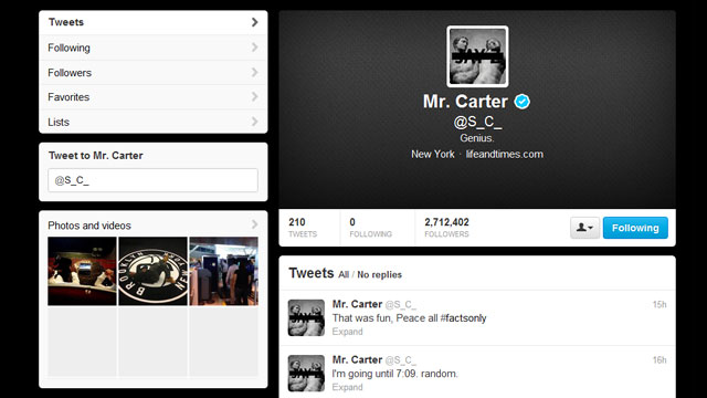 PHOTO: Jay-Z, the usually Twitter-shy rapper, replied to fans tweets yesterday, the day before his albums official release.