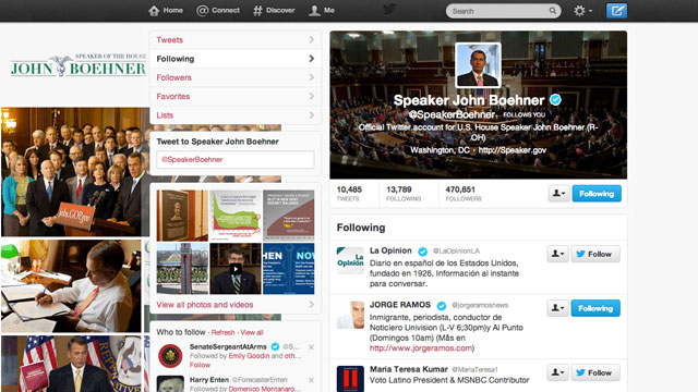PHOTO:The Twitter account of House Speaker John Boehner (R-Ohio) followed around 85 Hispanic media outlets and journalists on Friday.