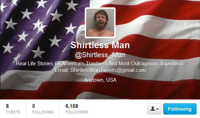 "PHOTO: Shirtless Mans Twitter feed takes headlines with the keyword ""Shirtless Man"" and tweets them."