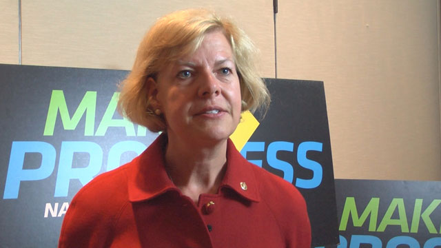 PHOTO: Senator Tammy Baldwin (D-Wisc.) spoke about youth political engagement at the Make Progress National Summit on Wednesday, July 17, 2013 in Washington, D.C.
