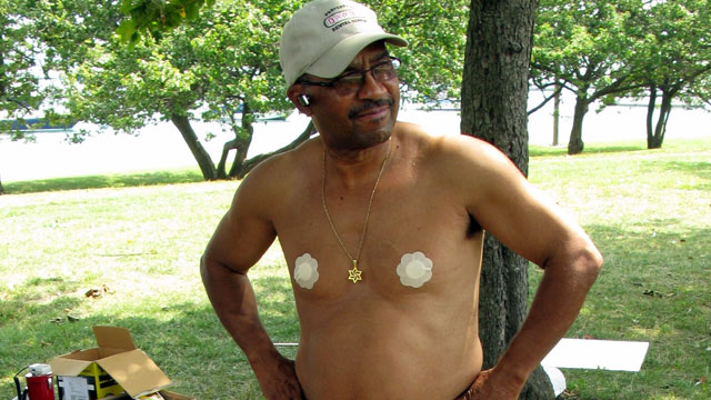 PHOTO: This man is wearing breast stickers.