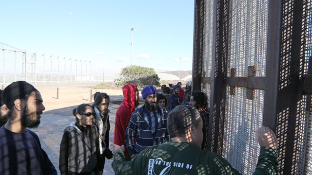 PHOTO:A group of students tours Friendship Park on U.S.-Mexico border.