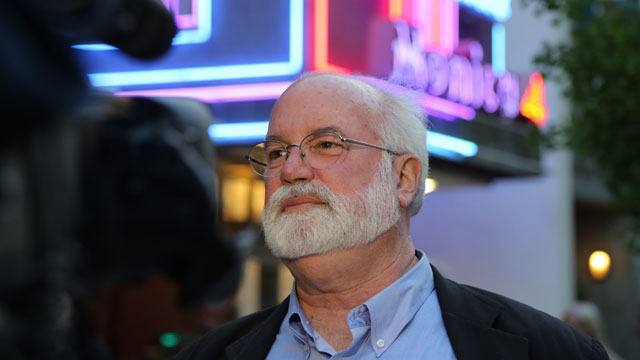 "PHOTO: Father Gregory Boyle at an opening screening for ""G-Dog,"" a documentary about his gang intervention work."
