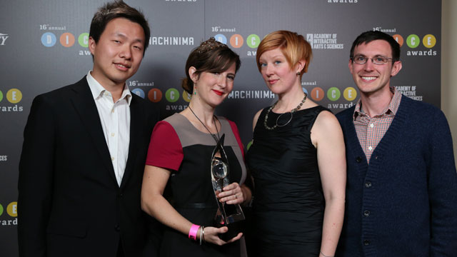"PHOTO: Jenova Chen, Kellee Santiago, Robin Hunicke and Martin Middleton are part of the team that created ""Journey,"" a video game that won eight awards, including best art direction, innovation in gaming and best game, the top award."