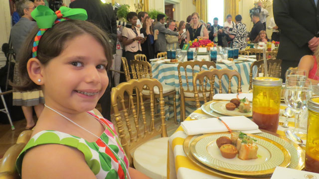 PHOTO: Aliana Arzola-Pinero submitted a winning eggplant lasagna roll recipe to earn a trip to the second annual Kids State Dinner at the White House in Washington, DC, on July 9, 2013.
