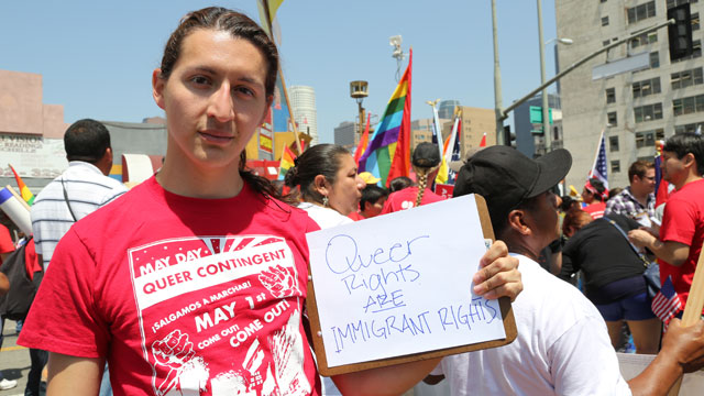PHOTO: Jesse Quintanilla demonstrates at a May Day rally in Los Angeles