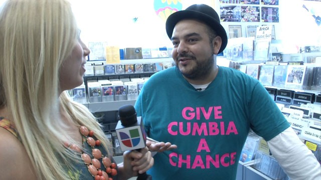 PHOTO: Camilo Lara of Mexican Institute of Sound discusses his music and love of vinyl with Univision.