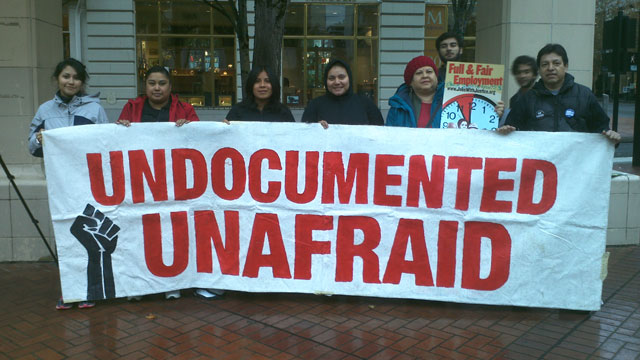 PHOTO:Oregon immigrant rights activists in Portland, Ore. at the start of their 5 day trip to the Capitol in Salem to demand drivers licenses for undocumented immigrants be reinstated.