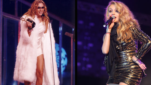 PHOTO: Paulina Rubio at Premio Lo Nuestro in 2001 and performing during a concert in 2011.